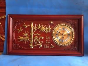 Tranh đồng hồ chữ lộc cây trúc