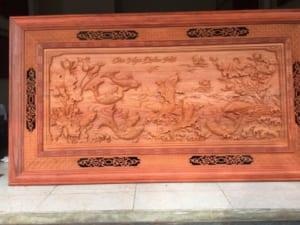 tranh gỗ cửu ngư quần hội